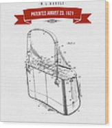 1921 Trout Basket Patent Drawing - Red Wood Print