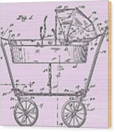 1922 Baby Carriage Patent Art Pink Wood Print