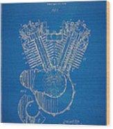 1923 Harley Davidson Engine Patent Artwork - Blueprint Wood Print by Nikki Smith