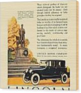 1924 - Lincoln Automobile - Color Wood Print