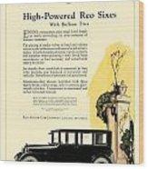 1924 - Reo Six Automobile Advertisement - Color Wood Print