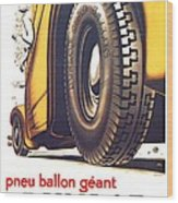 1924 - Dunlop Tires French Advertisement Poster - Color Wood Print
