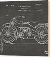 1924 Harley Motorcycle Patent Artwork - Gray Wood Print