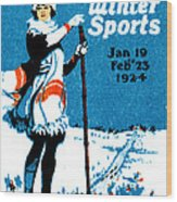 1924 Montreal Winter Sports Poster Wood Print