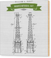 1927 Oil Well Rig Patent Drawing - Retro Green Wood Print