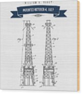 1927 Oil Well Rig Patent Drawing - Retro Navy Blue Wood Print