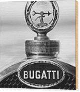 1928 Bugatti Type 44 Cabriolet Hood Ornament - Emblem Wood Print