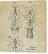 1928 Cork Extractor Patent Art - Vintage Black Wood Print