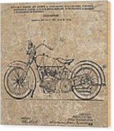 1928 Harley Davidson Motorcyle Patent Illustration Wood Print