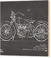 1928 Harley Motorcycle Patent Artwork - Gray Wood Print by Nikki Marie Smith