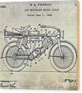 1928 Motorcycle Patent Drawing Wood Print