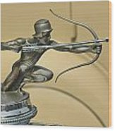 1928 Pierce Arrow Helmeted Archer Hood Ornament Wood Print