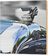 1928 Pontiac Hood Ornament And Badge Wood Print