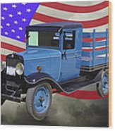 1929 Blue Chevy Truck And American Flag Wood Print