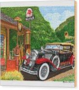 1929 Cadillac Dual Cowl Phaeton And Pegasus Wood Print