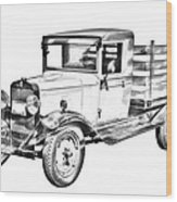 1929 Chevy Truck 1 Ton Stake Body Drawing Wood Print