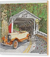 1929 Chrysler 65 Covered Bridge Wood Print