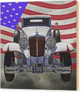 1929 Cord 6-29 Cabriolet Antique Car With American Flag Wood Print