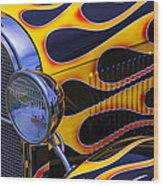 1929 Model A 2 Door Sedan With Flames Wood Print