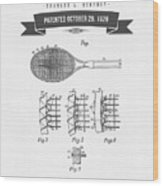 1929 Tennis Racket Patent Drawing - Retro Gray Wood Print