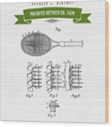 1929 Tennis Racket Patent Drawing - Retro Green Wood Print