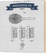 1929 Tennis Racket Patent Drawing - Retro Navy Blue Wood Print
