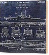 1930 Ship's Hull Patent Drawing Blue Wood Print