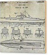 1930 Ship's Hull Patent Drawing Wood Print
