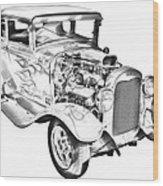 1930 Model A Custom Hot Rod Illustration Wood Print