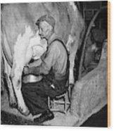 1930s 1940s Elderly Farmer In Overalls Wood Print