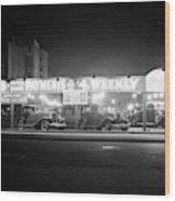 1930s New And Used Car Lot At Night Wood Print