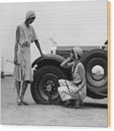 1930s Two Women Confront An Automobile Wood Print