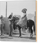 1930s Woman Sitting On Horse Wearing Wood Print