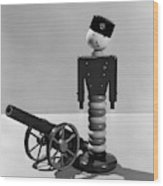 1930s Wooden Toy Soldier Next To Cannon Wood Print
