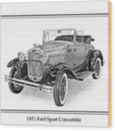 1931 Ford Convertible Wood Print by Jack Pumphrey