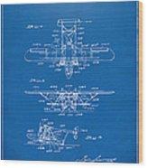 1932 Amphibian Aircraft Patent Blueprint Wood Print