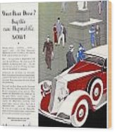 1933 - Hupmobile Sedan Automobile Advertisement - Color Wood Print
