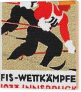 1933 Austrian Ski Race Poster Wood Print