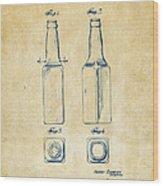 1934 Beer Bottle Patent Artwork - Vintage Wood Print