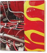 Hot Rod Art Work And Engine Wood Print