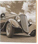 1934 Ford Coupe In Sepia Wood Print