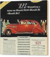 1935 - Nash Aeroform Automobile Advertisement - Color Wood Print