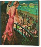 1935 Atlantic City Vintage Travel Art Wood Print