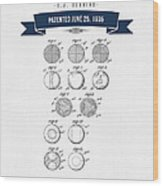 1935 India Rubber Ball Patent Drawing - Retro Navy Blue Wood Print