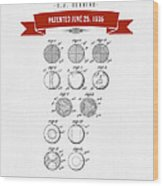 1935 India Rubber Ball Patent Drawing - Retro Red Wood Print