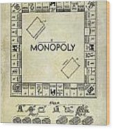 1935 Monopoly Patent Drawing Wood Print