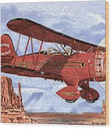 Monument Valley Bi-plane Wood Print