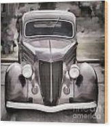 1936 Ford Roadster Classic Car Or Automobile Painting In Color  3120.02 Wood Print