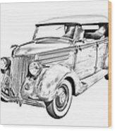 1936 Ford Phaeton Convertible Illustration  Wood Print
