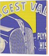 1937 - Plymouth Automobile Advertisement - Color Wood Print